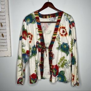 Chico's Floral Linen Tie Front Kimono Top Size XL